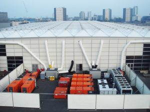 Today: Multiple power generators alongside chillers and AHUs at an exhibition centre