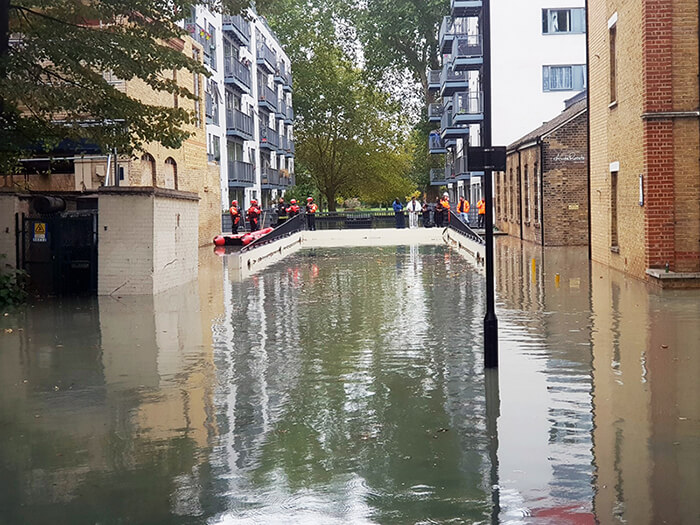 The burst water main resulted in 18 million litres of water engulfing roads and properties in Hackney, East London